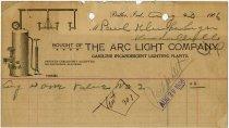 Image of Butler Arc Light Co. Billhead. - John Martin Smith Miscellaneous Collection
