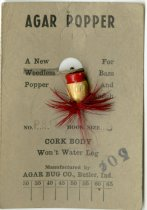 Image of Agar Popper Fishing Lure from the Agar Bug Company. - John Martin Smith Miscellaneous Collection