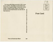 Image of Spencerville Covered Bridge Postcard - Back