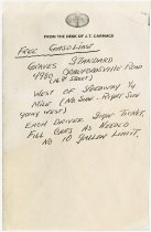 Image of Note for Free Gasoline from J. T. Carmack, 1976 Hoosier Tour - Jack Randinelli ACD Collection