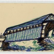 Image of Covered Bridge Drawing - John Martin Smith Miscellaneous Collection