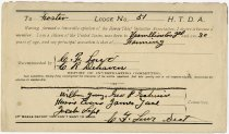 Image of Early 1900s Membership Form for Company No. 51 of Foster, Indiana National Horse Thief Detective Association, Warren County, Indiana - John Martin Smith Miscellaneous Collection
