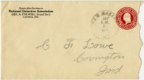Image of 1931 Envelope from National Detective Association, Ladoga, Indiana - John Martin Smith Miscellaneous Collection