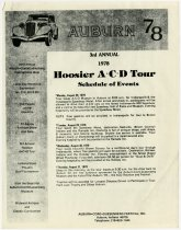 Image of 3rd Annual Hoosier A-C-D Tour Schedule of Events - Jack Randinelli ACD Collection