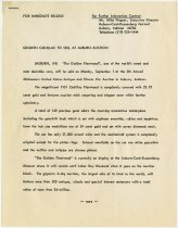 Image of Press Release Detailing the Sale of the Golden Cadillac at the 20th ACD Festival Auction - Jack Randinelli ACD Collection