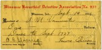 Image of 1926 Receipt for Dues to Winamac Horsethief Detective Association No. 257, Winamac, Pulaski County, Indiana - John Martin Smith Miscellaneous Collection