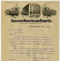 Image of Eastern Rock Island Plow Company Letter - John Martin Smith Miscellaneous Collection