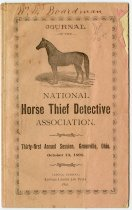 Image of 1891 Journal of the National Horse Thief Detective Association 31st Annual Session, Greenville, Ohio - John Martin Smith Miscellaneous Collection