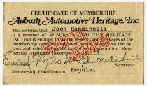 Image of Auburn Automotive Heritage Inc. Membership Certificate for Jack Randinelli - Jack Randinelli ACD Collection