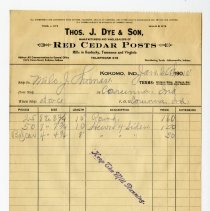 Image of Thomas J. Dye and Son Invoice - John Martin Smith Miscellaneous Collection