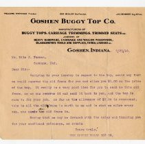 Image of Goshen Buggy Top Company Letter - John Martin Smith Miscellaneous Collection