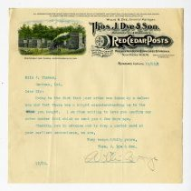 Image of Thomas J. Dye and Son Letter - John Martin Smith Miscellaneous Collection