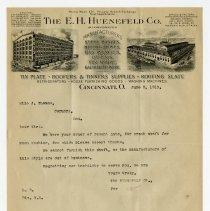 Image of E.H. Huenefield Company Letter   - John Martin Smith Miscellaneous Collection