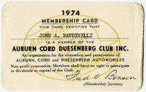 Image of John Randinelli's 1974 Auburn Cord Duesenberg Club Membership Card - Jack Randinelli ACD Collection