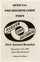 Image of Pre-registration form for the 21st Annual Auburn Cord Duesenberg Reunion - Jack Randinelli ACD Collection