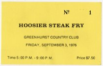 Image of Greenhurst Country Club Hoosier Steak Fry Ticket - Jack Randinelli ACD Collection