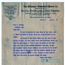 Image of Birkmayr-Rodemich-Showel Company Customer Letter