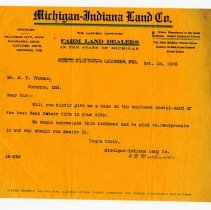 Image of Michigan-Indiana Land Company Business Letter
