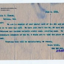 Image of Ney Manufacturing Company Business Letter  - John Martin Smith Miscellaneous Collection