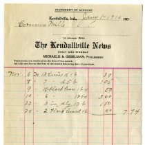 Image of Kendallville News Statement of Account