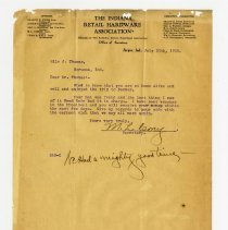 Image of Indiana Retail Hardware Association Letter   - John Martin Smith Miscellaneous Collection