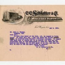 Image of C.C. Schlatter and Company, Incorporated Letter   - John Martin Smith Miscellaneous Collection