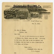 Image of Studebaker Brothers Manufacturing Company Letter   - John Martin Smith Miscellaneous Collection