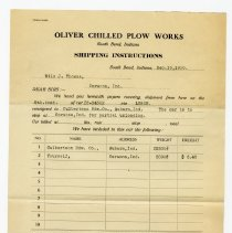 Image of Oliver Chilled Plow Works Invoice - John Martin Smith Miscellaneous Collection