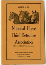 Image of 1922 Journal of the National Horse Thief Detective Association, 62nd Annual Session, Logansport, Cass County, Indiana - John Martin Smith Miscellaneous Collection