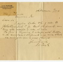 Image of I.N. Taylor Letter - John Martin Smith Miscellaneous Collection