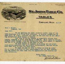 Image of Saint Johns Table Company Letter - John Martin Smith Miscellaneous Collection