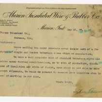 Image of Marion Insulated Wire and Rubber Company Letter - John Martin Smith Miscellaneous Collection