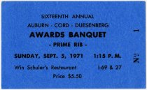 Image of Auburn Cord Duesenberg 1971 Awards Banquet Ticket - Jack Randinelli ACD Collection