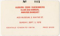 Image of Auburn Cord Duesenberg Awards Banquet Ticket for September 3, 1978 - Jack Randinelli ACD Collection
