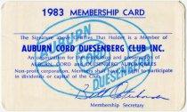 Image of 1983 Auburn Cord Duesenberg Club Membership Card - Jack Randinelli ACD Collection