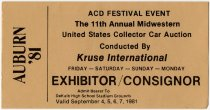 Image of Exhibitor Admission Ticket for the 11th Annual Midwestern United States Collector Car Auction in 1981 - Jack Randinelli ACD Collection