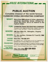Image of Announcement for Cumbow China Decorating Company Estate Auction in October 1980 - Jack Randinelli ACD Collection