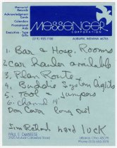 Image of Note on Messenger Corporation Logo Note Paper  - Jack Randinelli ACD Collection