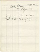 Image of Handwritten notes with driving directions and contact phone numbers  - Jack Randinelli ACD Collection