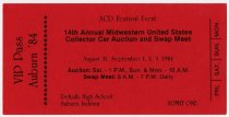 Image of VIP Pass for 1984 Auburn Cord Duesenberg Festival and 14th Annual United States Collector Car Auction and Swap Meet in Auburn, Indiana with message on reverse - Jack Randinelli ACD Collection