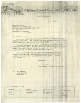 Image of Letter between ACD Festival Committee and Thorp Sales Corporation - Jack Randinelli ACD Collection