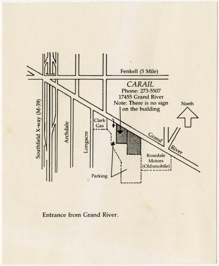 1982 map of Carail museum in Detroit - Jack Randinelli ACD ... Oldsmobile Kes Diagram on