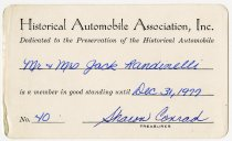 Image of Historical Automobile Association Membership Card - Jack Randinelli ACD Collection