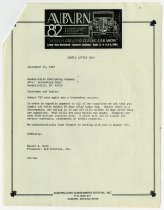 Image of Auburn 1982 Event Sample Letter to Kendallville Publishing Company - Jack Randinelli ACD Collection