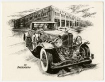 Image of Auburn-Cord-Duesenberg invitations with drawings of a Cord and Duesenberg - Jack Randinelli ACD Collection