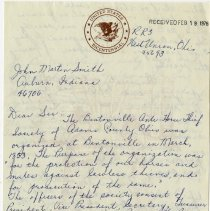 Image of 1976 Letter Describing the History of the Bentonville Anti-Horsethief Association in Bentonville, Ohio - John Martin Smith Miscellaneous Collection