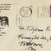 Image of 1959 Envelope for the Lower Merion Society for Detection and Prosecution of Horse Thiefs and Recovery of Stolen Horses, Ardmore, Pennsylvania - John Martin Smith Miscellaneous Collection