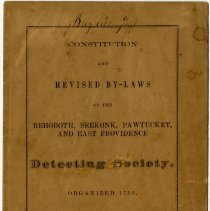 Image of 1871 Constitution and Revised Bylaws of Rehoboth, Seekonk, Pawtucket and East Providence Detecting Society, Rhode Island - John Martin Smith Miscellaneous Collection