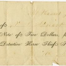Image of 1869 Membership Receipt for the Mt. Pleasant Detective Horse Thief Society, Racine County, Wisconsin - John Martin Smith Miscellaneous Collection