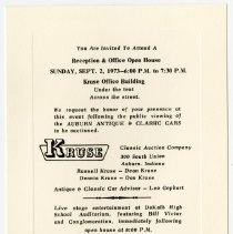 Image of Invitation for the Kruse Reception in 1973 during Auburn-Cord-Duesenberg Festival - Jack Randinelli ACD Collection